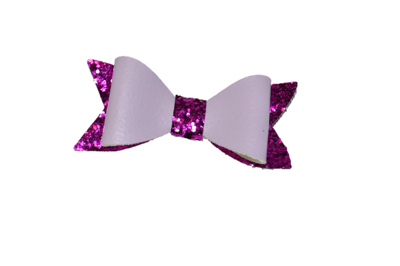 Light and Dark Purple Leather and Glitter Bow