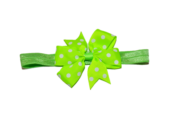 Neon Green Polka Dot Pinwheel Bow Headband