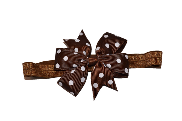 Brown Polka Dot Pinwheel Bow Headband