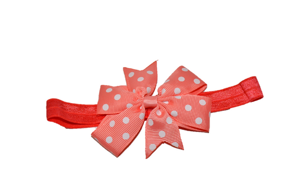 Peach Polka Dot Pinwheel Bow Headband