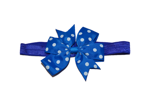 Blue Polka Dot Pinwheel Bow Headband