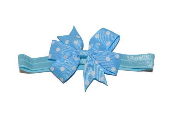 Light Blue Polka Dot Pinwheel Bow Headband