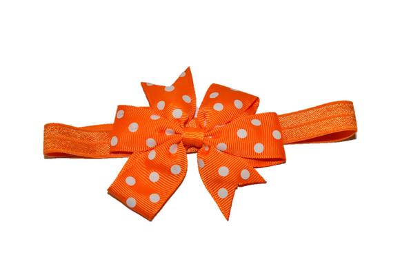 Orange Polka Dot Pinwheel Bow Headband