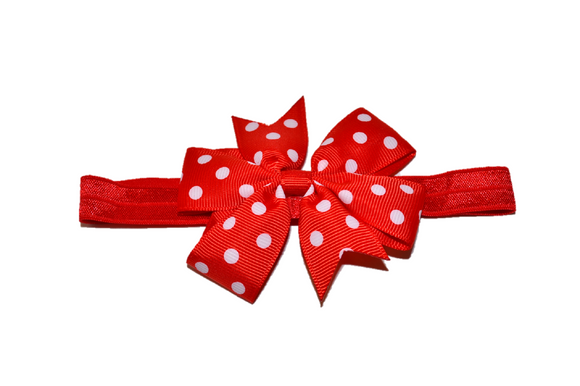 Red Polka Dot Pinwheel Bow Headband
