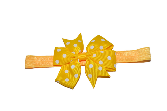 Yellow Polka Dot Pinwheel Bow Headband