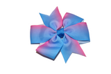 Bright Blue Pink Ombre Pinwheel Hair Bow Clip - Dream Lily Designs