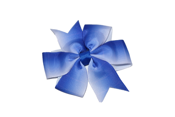 Blue Ombre Pinwheel Hair Bow Clip - Dream Lily Designs
