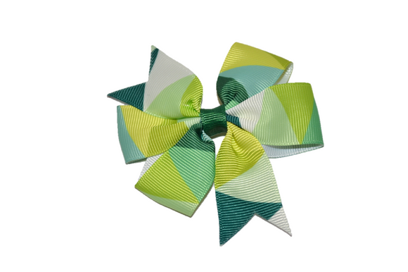 Green Lime Pinwheel Hair Bow Clip - Dream Lily Designs