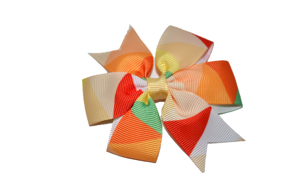 Orange Red Green Pinwheel Hair Bow Clip
