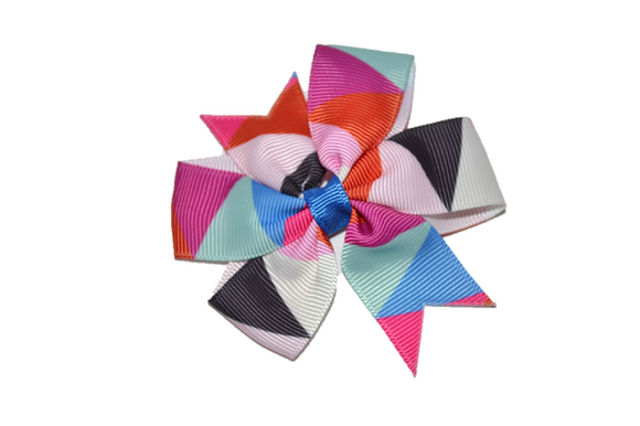 Purple Red Blue Pinwheel Hair Bow Clip - Dream Lily Designs