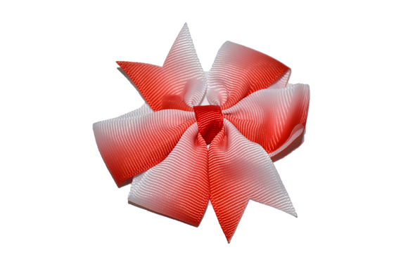 Red Coral Ombre Pinwheel Hair Bow Clip - Dream Lily Designs