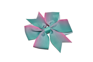 Pink Teal Ombre Pinwheel Hair Bow Clip - Dream Lily Designs