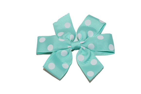 Mint Aqua with White Polka Dot Pinwheel Hair Bow Clip - Dream Lily Designs