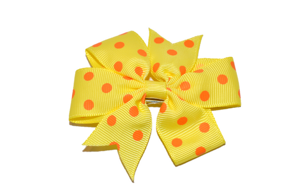 Yellow with Orange Polka Dot Pinwheel Hair Bow Clip - Dream Lily Designs