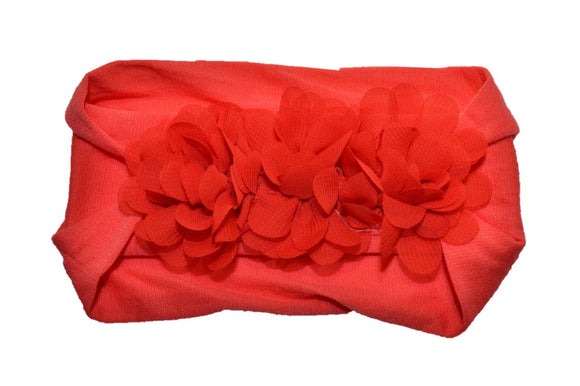 Red 3 Flower Nylon Chiffon Flower Baby Wide Headband - Dream Lily Designs