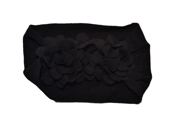 Black 3 Flower Nylon Chiffon Flower Baby Wide Headband - Dream Lily Designs