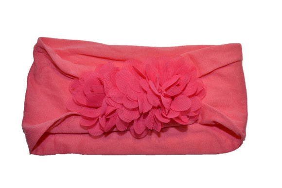 Bright Pink 3 Flower Nylon Chiffon Flower Baby Wide Headband - Dream Lily Designs
