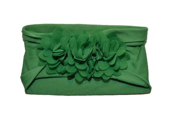 Green 3 Flower Nylon Chiffon Flower Baby Wide Headband - Dream Lily Designs