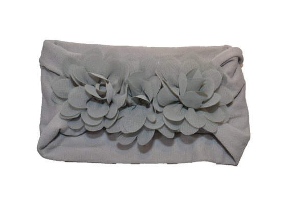 Grey 3 Flower Nylon Chiffon Flower Baby Wide Headband - Dream Lily Designs