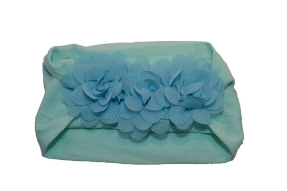 Light Blue Aqua 3 Flower Nylon Chiffon Flower Baby Wide Headband - Dream Lily Designs