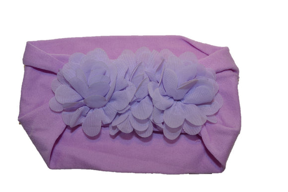 Light Purple 3 Flower Nylon Chiffon Flower Baby Wide Headband - Dream Lily Designs