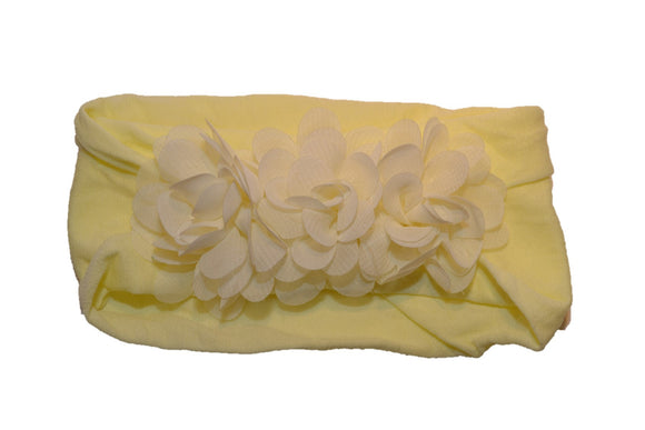 Light Yellow 3 Flower Nylon Chiffon Flower Baby Wide Headband - Dream Lily Designs