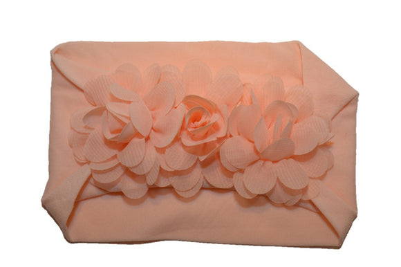 Peach 3 Flower Nylon Chiffon Flower Baby Wide Headband - Dream Lily Designs