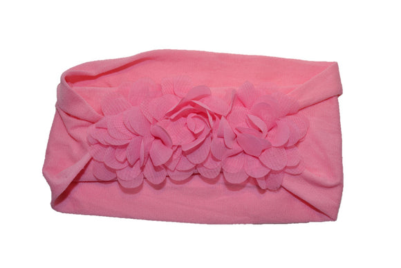 Pink 3 Flower Nylon Chiffon Flower Baby Wide Headband - Dream Lily Designs