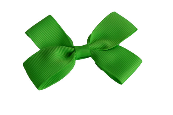 3 Inch Double Loop Hair Bow Bright Green - Dream Lily Designs