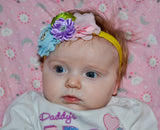 Grey and Pink Fancy Shabby Rose Headband with Bow - Dream Lily Designs