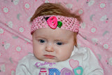 "Pink and Green 1.5"" Crochet Headband - Dream Lily Designs"