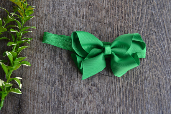 4 Inch Boutique Bow Headband - Green - Dream Lily Designs