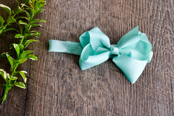 4 Inch Boutique Bow Headband - Mint - Dream Lily Designs