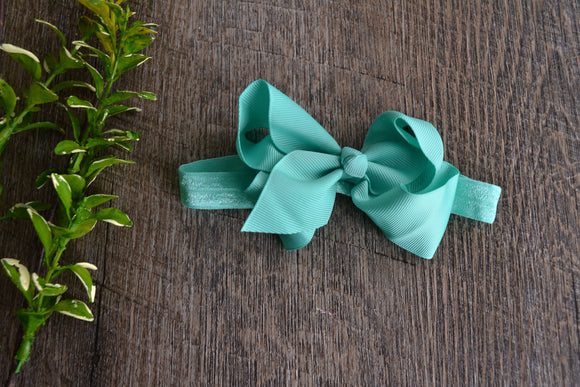 4 Inch Boutique Bow Headband - Aqua - Dream Lily Designs