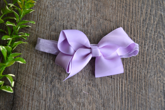 4 Inch Boutique Bow Headband - Lavender - Dream Lily Designs
