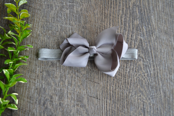4 Inch Boutique Bow Headband - Light Grey - Dream Lily Designs