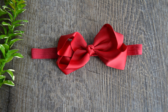4 Inch Boutique Bow Headband - Red - Dream Lily Designs