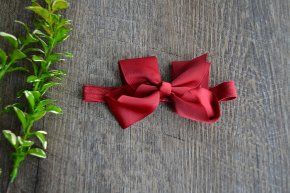4 Inch Boutique Bow Headband - Maroon - Dream Lily Designs