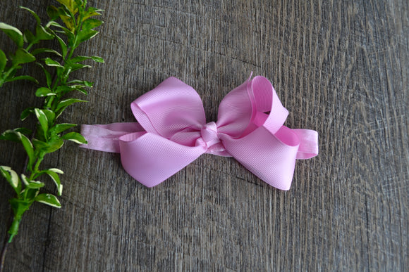 4 Inch Boutique Bow Headband - Light Pink - Dream Lily Designs