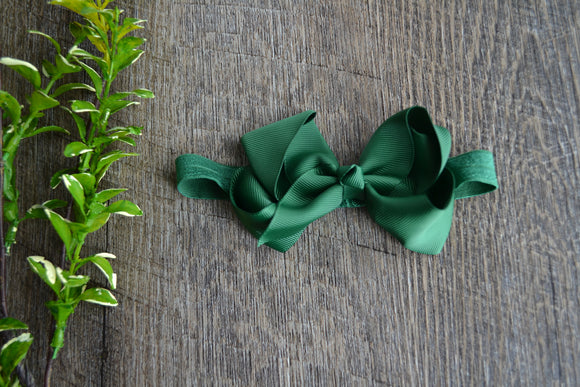 4 Inch Boutique Bow Headband - Dark Green - Dream Lily Designs