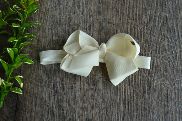 4 Inch Boutique Bow Headband - Cream - Dream Lily Designs