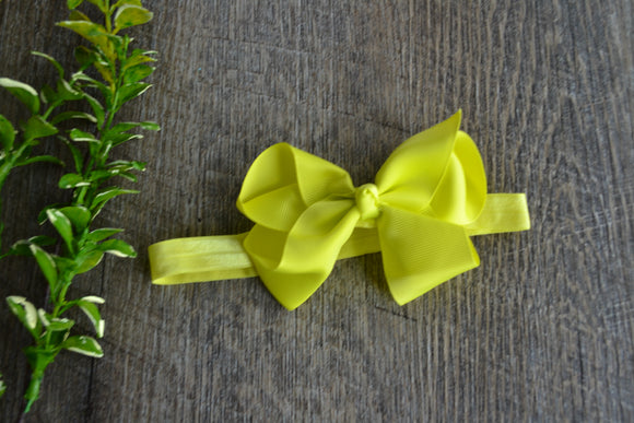 4 Inch Boutique Bow Headband - Bright Yellow - Dream Lily Designs