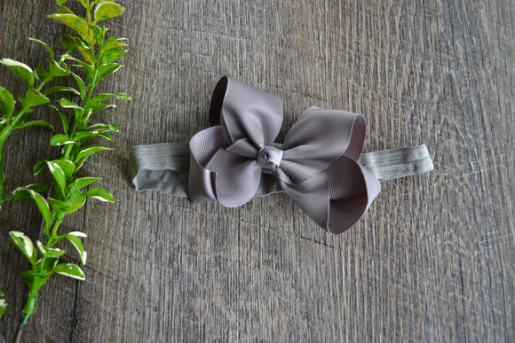 4 Inch Boutique Bow Headband - Grey - Dream Lily Designs