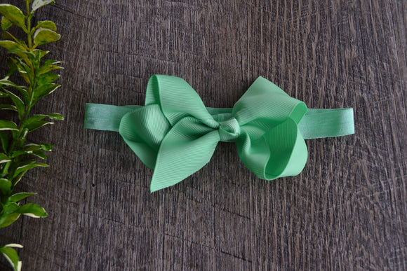 4 Inch Boutique Bow Headband - Pastel Green - Dream Lily Designs