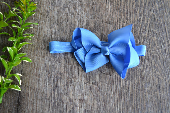 4 Inch Boutique Bow Headband - Blue - Dream Lily Designs