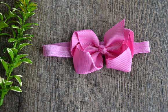 4 Inch Boutique Bow Headband - Pink - Dream Lily Designs