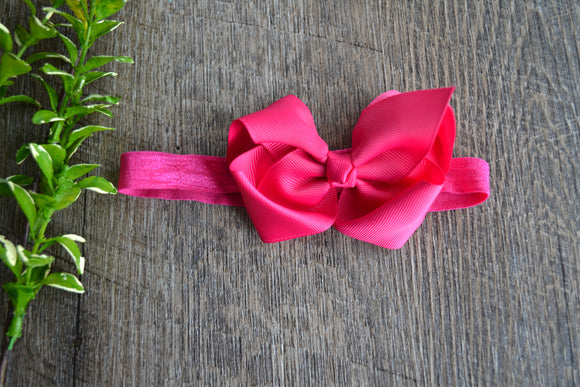 4 Inch Boutique Bow Headband - Fuschia - Dream Lily Designs