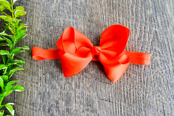 4 Inch Boutique Bow Headband - Neon Orange - Dream Lily Designs