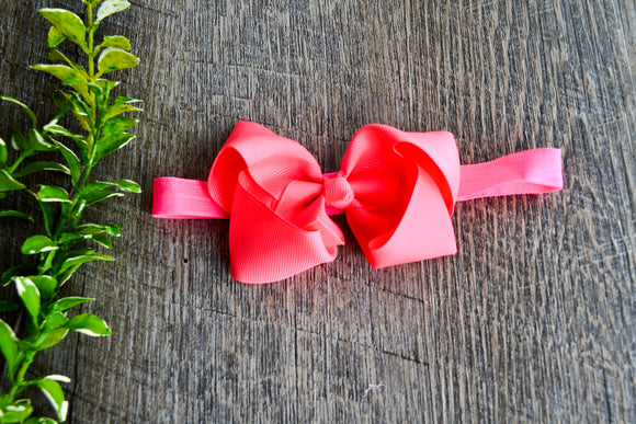 4 Inch Boutique Bow Headband - Neon Pink - Dream Lily Designs