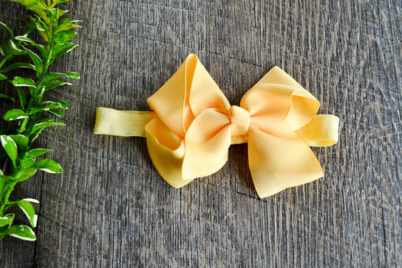 4 Inch Boutique Bow Headband - Pastel Yellow - Dream Lily Designs